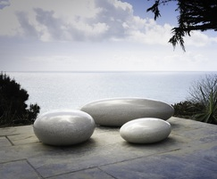 Sculptural Pico Pebble seats by the sea