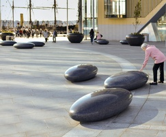 Oval Pendeen Pebble Seats outside Dundee train station