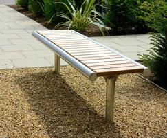 Shoreline iroko and stainless steel bench