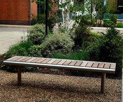 Shoreline iroko timber, 316 stainless steel SL005 bench