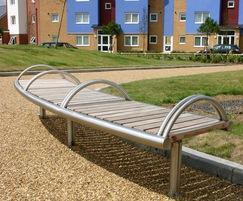 SL007 bench, 316 stainless steel, Iroko