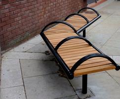 Shoreline SL005 iroko and steel bench