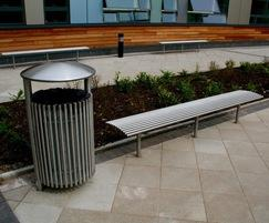 Baseline BL006 benches and Centerline dome top bin