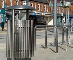 Benchmark Design litter bin and cycle stands