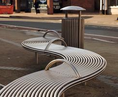 Benchmark Design street furniture, curved bench