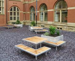Iroko and aluminium benches