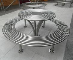 Baseline Picnic Table And Bench Set Benchmark Design ESI - Stainless steel picnic table