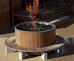 Shoreline planter and hardwood bench