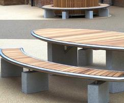 Bespoke table and benches on granite plinths
