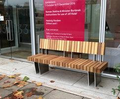 Iroko hardwood seat from benchmark street furniture