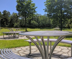 Stainless steel picnic tables and benches