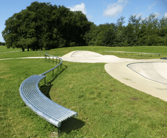 Curved seat for skate park