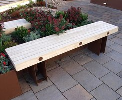 Aluminium framed bench with accoya slats on roof garden