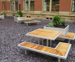 Campus planters and benches