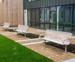 Street furniture - stainless steel and timber bench