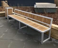 Hardwood and aluminium bench and litter bin