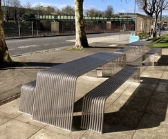 Stainless steel contemporary picnic tables