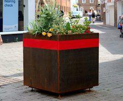 Corten steel planter for pedestrianisation scheme
