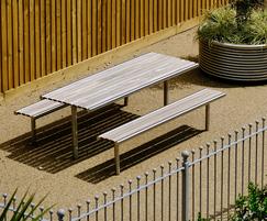 Shoreline SL025 Picnic Table - stainless steel & Iroko