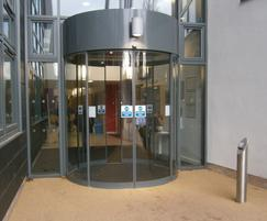 Curved entrance doors, University of Nottingham
