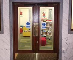 Library - automatic swing doors