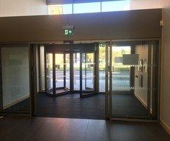 Automatic revolving door combined with sliding doors