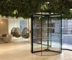 Glass revolving entrance, commercial office development