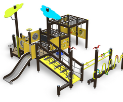 Inclusive playground climbing frame