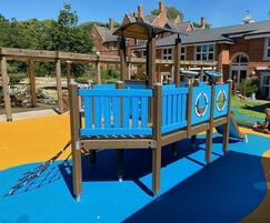 coloured wet pour rubber under playground ship