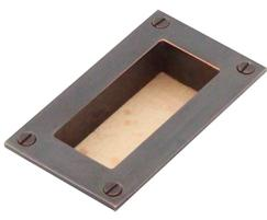 Arbor flush pull in beech and imitation bronze finish