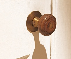 Rosewood and antique brass Arbor mortice knob (34308)