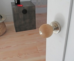 Sanded beech and satin nickel plated mortice knob