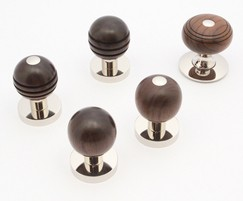 Arbor mortice knobs in rosewood and polished nickel