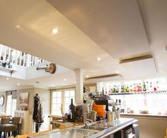 Acoustic panels help to reduce noise in the restaurant