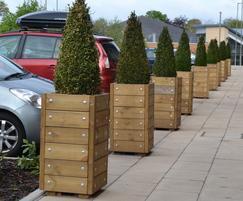 Grenadier entrance planters in FSC Redwood
