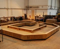 Large shaped Diplomat planters in FSC treated redwood