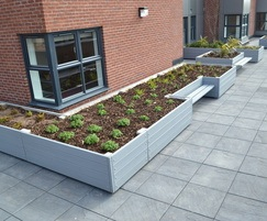 Grenadier design roof planters with benches