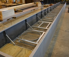 Large Bowden Corten planter unit during assembly