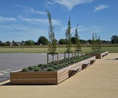 Long Grenadier planter with Henley bench FSC redwood