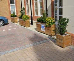 Grenadier barrier planters with reflective strips