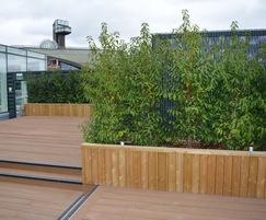Diplomat roof garden planters in FSC redwood