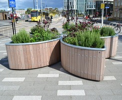 Castleton Planters in FSC iroko with galvanised capping