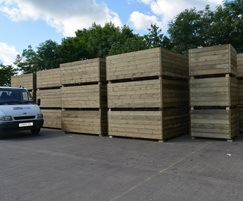 Grenadier planters in FSC redwood ready for delivery