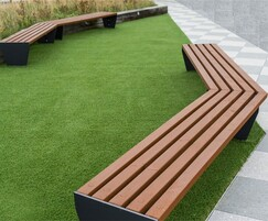 Angled slatted benches for rooftop garden