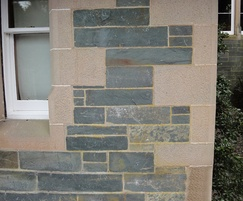 Traditional 'Stugged' window rybats and quoins