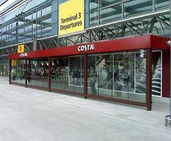 Heathrow Airport Costa Coffee covered walkway