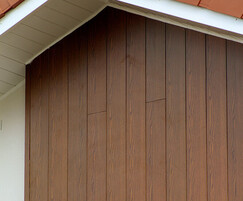 VulcaLap T&G 150mm aluminium cladding in Dark Oak