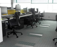 Flexible work spaces with Fantile units in floor