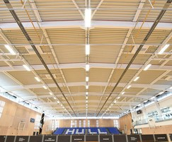 Nor-Ray-Vac radiant heaters for university sports hall