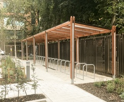 Birley canopy and Sheffiled toastrack cycle stands